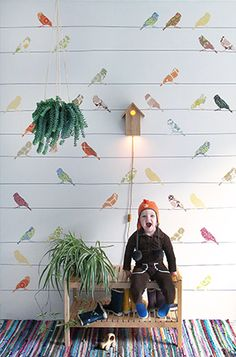 What's going on at INKE? Latest news on Dutch designer Inke Heiland. Quirky Wallpaper, Kids Room Wallpaper, Bird Wallpaper, Children Wallpaper, Casa Kids, Interior Design Trends, Designer Wallpaper, Wallpaper Designs, New Wall