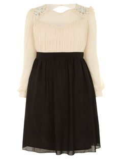 Little Mistress Cream & Black Long Sleeve Embellished Dress - New In - Clothing - New In - Evans