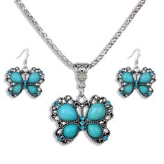 Silver, Turquoise & Rhinstones Butterfly Necklace & Earrings Set  at Sova-Enterprises.com