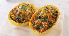Looking for a healthy, light dinner tonight? Cook up a delicious Mediterranean-inspired meal you can eat right in the squash - no extra dishes necessary. Beef Recipes, Mexican Food Recipes, Low Carb Recipes, Dinner Recipes, Cooking Recipes, Healthy Recipes, Advocare Recipes, Vegetable Recipes, Healthy Meals