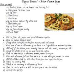 Copycat recipe for Bertucci's Chicken Piccata