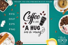 Free Coffee is like a Hug Cut File - Free Kitchen Sign - FREE Coffee Quote - Free Funny Design - Free Coffee SVG - Free Cut File Sayings For Wine Glasses, Easter Quotes, Creative Fonts, Coffee Quotes, Be My Valentine, Christmas Humor, Sign Design, Svg Files For Cricut, Svg Cuts