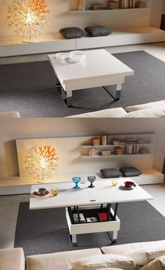 I love the coffee table/dining tables - perfect for small spaces  30 Extendable Dining Tables