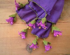 ochre yellow scarf with pink crochet flowers cotton