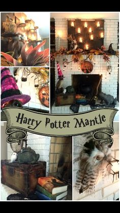 Trees n Trends Unique Home Decor: A Harry Potter Inspired Mantle Harry Potter Christmas Tree, Hogwarts Christmas, Harry Potter Halloween, Theme Harry Potter, Harry Potter Room, Harry Potter Houses, Harry Potter Birthday, Magical Christmas, Trees And Trends