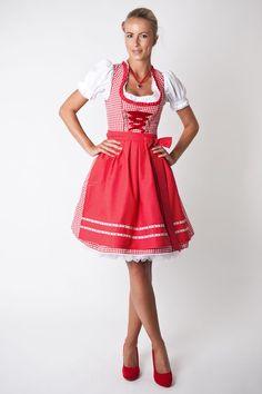 Dirndl-Set Rosalie, rot/weiß