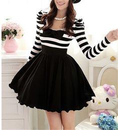 Cute Classical Gothic Punk Lolita Dolly Bow Stripes Spring Dress Skirt -S M L XL #Handmade #ShirtDress #Casual