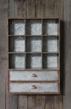 Tin Cabinet w/ 9 Cubbies & 2 Drawers, Hangs Or Sits. Wonderland Collection #wholasale