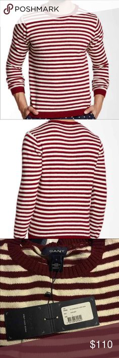 Men's GANT Burgundy Stripe Sweater Large NWT Men's GANT Natural Stripe Sweater Large  GANT Natural Stripe Sweater   Color: Burgundy Large  Crewneck Long sleeves All over stripes Rib knit construction  100% cotton ✳️✳️FINAL PRICE✳️✳️ BRAND new $155 Gant Sweaters Crewneck