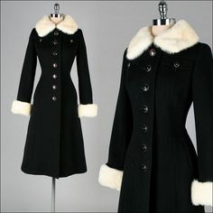 Vintage 1960s Coat . Black Wool . Mink Fur . Pockets . Princess . S . 2449. $425.00, via Etsy.
