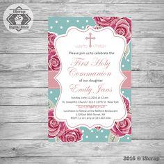 Primera comunión invitación, invitar comunión bautizo invitación de niña invitación puntos de invitación de bautismo para imprimir COD29 de iscrapdesign en Etsy