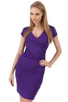 #Purple V Neck #Pleated #Plain #Stylish Womens #Bodycon #Dress