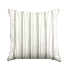 This pillow cover has a gray/light brown stripe on an ivory background. linen front (lined). linen back. Made in USA. INSERT SOLD SEPARATELY Recommend sizing up for a square and same size for a lumbar: Decorative Pillow Insert