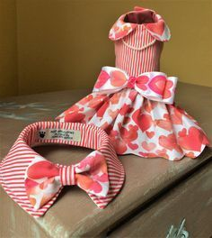 Valentine Dog Dress, Fancy Holiday Dress, Special Occasion, Party Pet Clothes, Fancy Small Dress, Valentine Boy Bow Tie Collar,