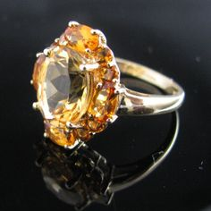 #Golden #Citrine #Ring 9K #Gold #Jewelry #The #Antiques #Room #Galway #Ireland Citrine Ring, Citrine Gemstone, Gemstone Rings, Vintage Diamond, Vintage Rings, Galway Ireland, Cluster Ring, Gold Jewelry, Jewerly