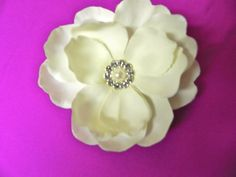 Ivory wedding flower hair clip with by KaysSimplyElegant on Etsy, $16.00