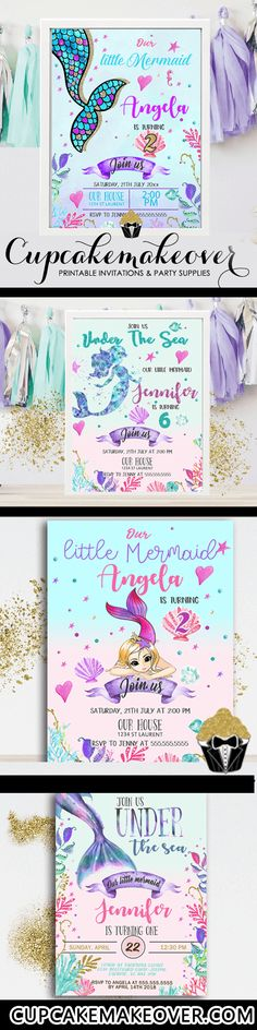 Under the sea mermaid birthday invitations in beautiful ocean pastel colors for . Under the sea me Mermaid Invitations, Birthday Invitations, Invites, Mermaid Birthday, Diy Birthday, Mermaid Cupcakes, Under The Sea Theme, Mermaid Parties, All Themes