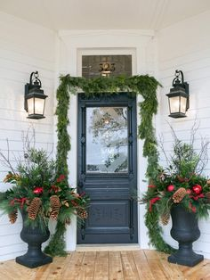 Fixer Upper: Holidays With Chip and Jo at Magnolia House B&B – Outdoor Christmas Lights House Decorations Porch Christmas Lights, Christmas Urns, Christmas Door Decorations, Decorating With Christmas Lights, Farmhouse Christmas Decor, Outdoor Christmas, Porch Decorating, Light Decorations, Christmas Home