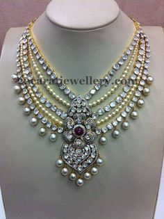 Jewellery Designs: Pearls and Polki Stones Steps Set