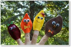 finger puppets ♥ http://felting.craftgossip.com/2013/11/23/felt-leaf-finger-puppets/