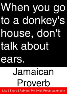 When you go to a donkey's house, don't talk about ears. - Jamaican Proverb #proverbs #quotes