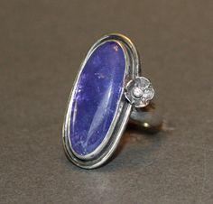 #handmadejewelry by #myfascinationstreet  #tanzanite cabochon with #diamond 'bloom'