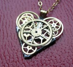 Watch Parts Heart Necklace Gale Clockwork by amechanicalmind