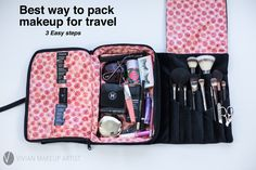 How to pack makeup for travel. Carryon makeup. Makeup organization tips. http://www.vivianmakeupartist.com/how-to-organize-your-makeup-for-travel/