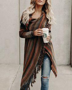 FISACE Women Elegant Aztec Stripes Fall Tassels Slash Hem Cardigan Loose Sweater