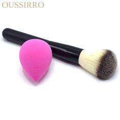1Pcs Makeup Brush+1Pcs Soft Sponge Powder Professional Makeup Brushes Set Foundation Brush Cosmetics Concealer Pinceau Pincel