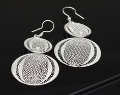 Sterling Silver Circle Earrings  Silver by SilverLiningStr on Etsy