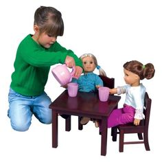 dfa4ba113c85e Guidecraft Doll Table and 2 Chairs Set