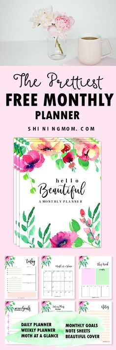Hello, Beautiful! This Free monthly planner will help you plan your month to the next level! Download yours now! #planner #monthlyplanner #printable #2018