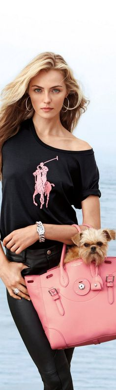 Ralph Lauren. My style~ minus a dog. I don't carry dogs with me....Yes, I do love those furry geranimals!!