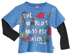 Perfect for the little messy eaters we know...City Threads 2Fer Tee with hilarious graphic of splattered food. Soft 100% cotton baby rib tee with jersey long sleeve, made in the U.S.A.    NEW City Threads World's Messiest Eater 2fer Tee - Bright Blue
