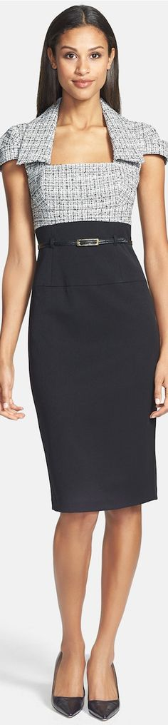 Black Halo, sheath dress gray & black