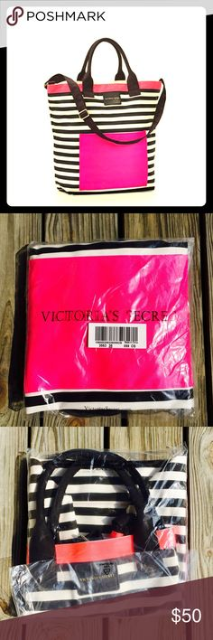 """VS Cute Tote⛱ NIB Super adorable perfect size beach ready tote! I almost kept this one for myself...but I have so many. This one has a big pocket on the outside and plenty of room on the inside for all your goodies for the beach, lake or boat. 100% canvas. Measurements are 18.5L""""x 6.5""""Wx 17""""H an 85$ value.NO TRADESNO PAYPAL NO OFFLINE TRANSACTIONS Victoria's Secret Bags Totes"""
