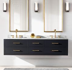 RH's Hutton Double Floating Vanity Base:This versatile collection brings a spare, Parsons-like sensibility to the bath. Zen Bathroom, White Bathroom, Bathroom Storage, Bathroom Ideas, Bathroom Organization, Minimal Bathroom, Black Vanity Bathroom, Bath Ideas, Black And Gold Bathroom