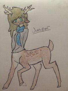 This is my persona juniper. Juniper is a half human half deer(cervitaur)  hybrid living in a world called acanthus, a parallel world where most everyone is some sort of animal hybrid. Juniper is sweet, but feisty and a bit reckless. She loves running.(by:Victoria rose)(Would anyone like to join a rp Board for acanthus? Draw you own oc for it!)