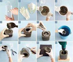 Maceta hecha de pet-cemento
