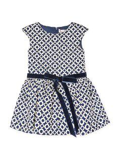 Geometric Jacquard Drop Waist Dress