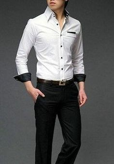 Men's button front white shirt