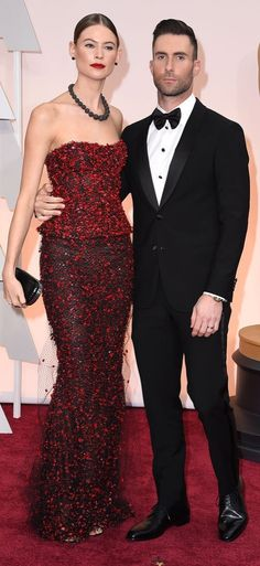 Adam Levine and Behati Prinsloo At the 2015 Oscars
