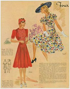Two gorgeous spring dresses, circa 1940. From Woman's home companion. (Springfield, Ohio Crowell 1873-1957)