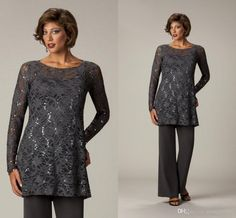 8cdb3cd1e1d4 2016 Brown Lace Chiffon Beading Long Sleeve Two Piece Plus Size Mother Of  The Bride Pant Suits Plus Size For Special Occasion Appliques Online with  ...