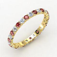 The Rich & Thin Eternity Band #customizable #jewelry #garnet #diamond #gold #ring