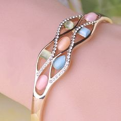 Brand Bijuteria Special Opals Bngles Fine Jewelry Crystal Joias Ouro 18K Pulseiras Charming Bangle Love Bracelets For Women Girl
