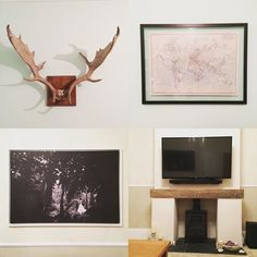 Spent the day hanging this lot with Dad. When I say with dad I mean that he did most of the work and I passed tools... Regardless I'm pleased to finally get a family heirloom nice old map huge canvas of one of our wedding photos (first one we've put up eeek!) and the sound bar up on the wall! #stag #horns #family #heirloom #dad #grandad #old #map #world #wedding #ourwedding #photo #canvas #blackandwhite #soundbar #livingroom #music #achievement #cowley365 #365 #365project #365photoproject…