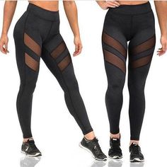 95f73ba823 Transparent Stripe Fitness Leggings Net Leggings, Mesh Workout Leggings,  Mesh Panel Leggings, Collants