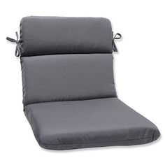 pillow perfect outdoor indoor rounded corners chair cushion with grey sunbrella fabric gray